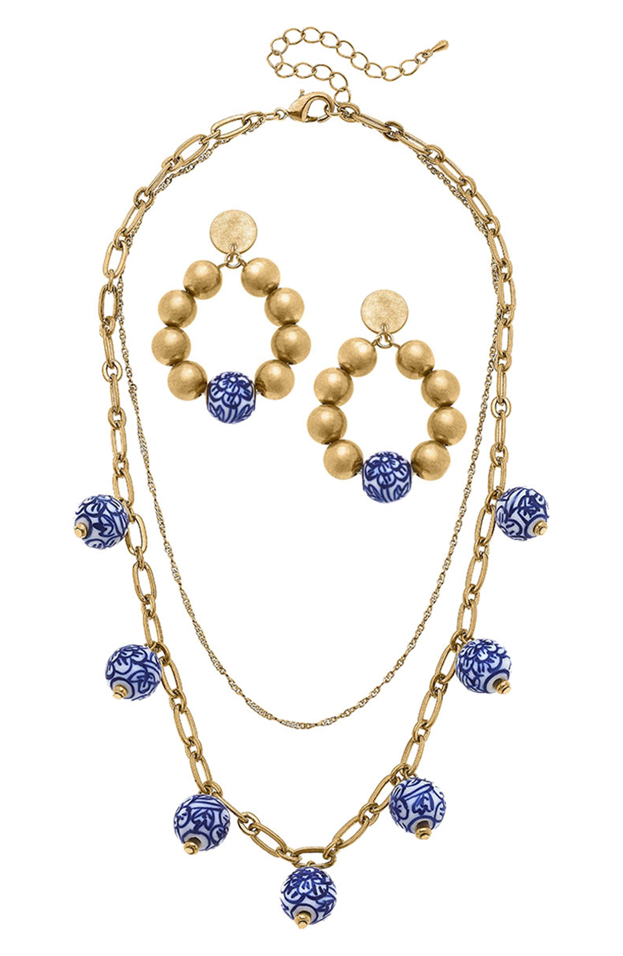 Two-Piece Chinoiserie Layered Necklace & Earrings Set
