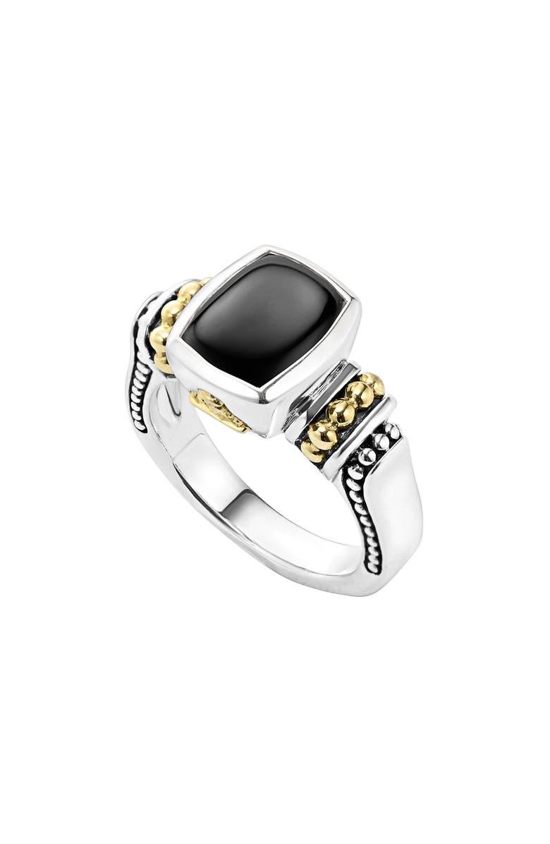 LAGOS 'Caviar Color' Small Semiprecious Stone Ring, Main, color, BLACK ONYX