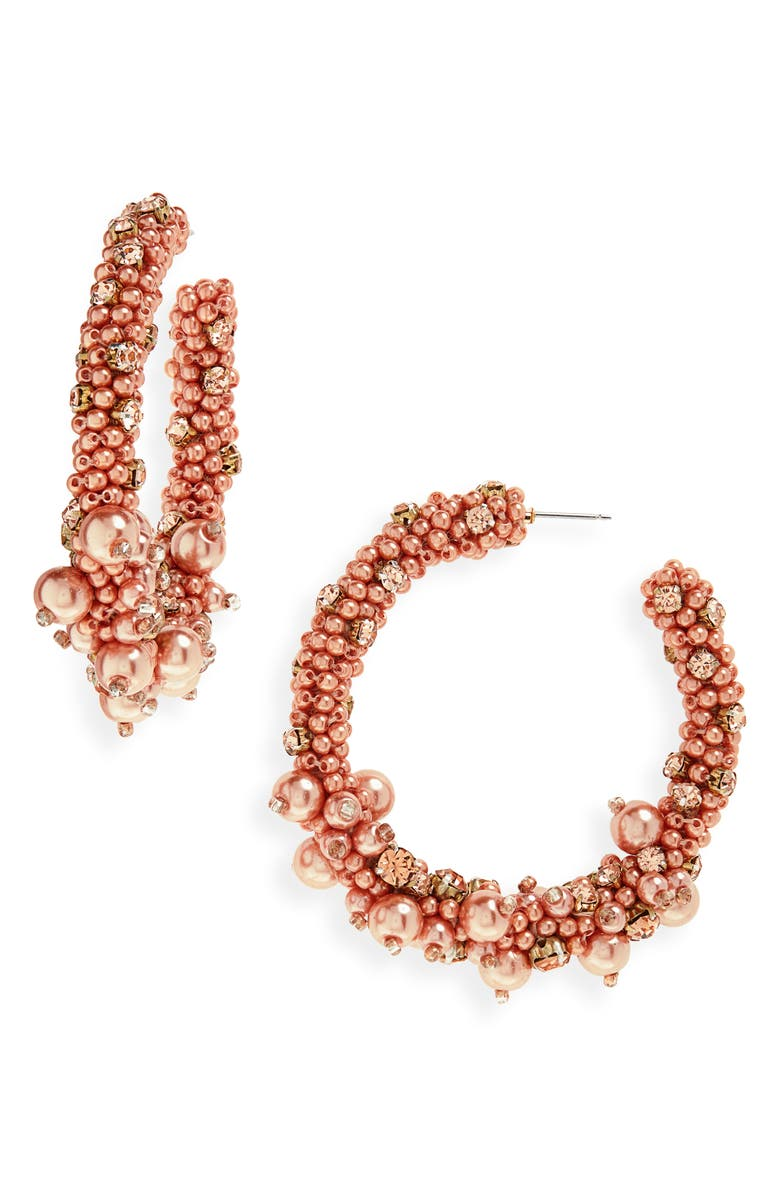 OSCAR DE LA RENTA Beaded Hoop Eearrings, Main, color, GOLD