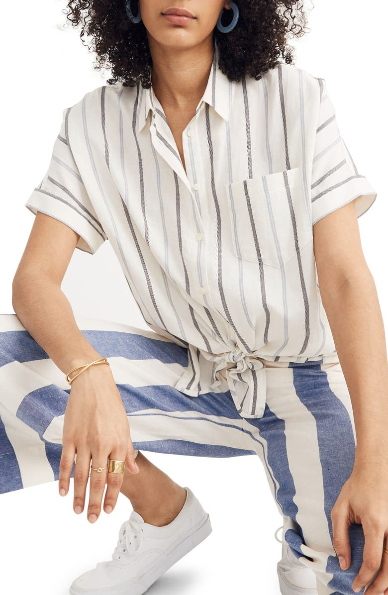 MADEWELL Montpellier Stripe Tie Front Top, Main, color, 900