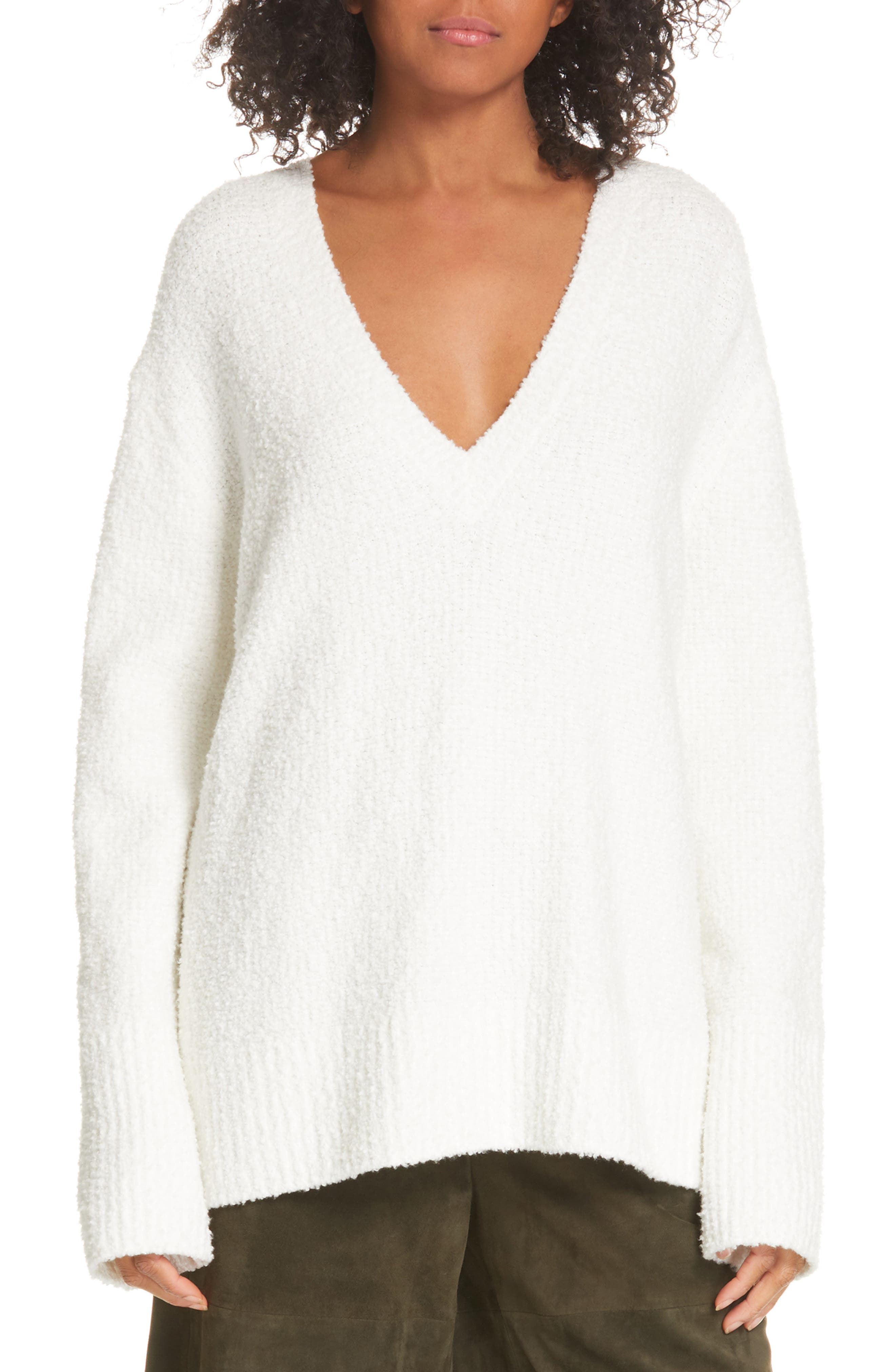 Textured Tunic Sweater, Main, color, WHITE