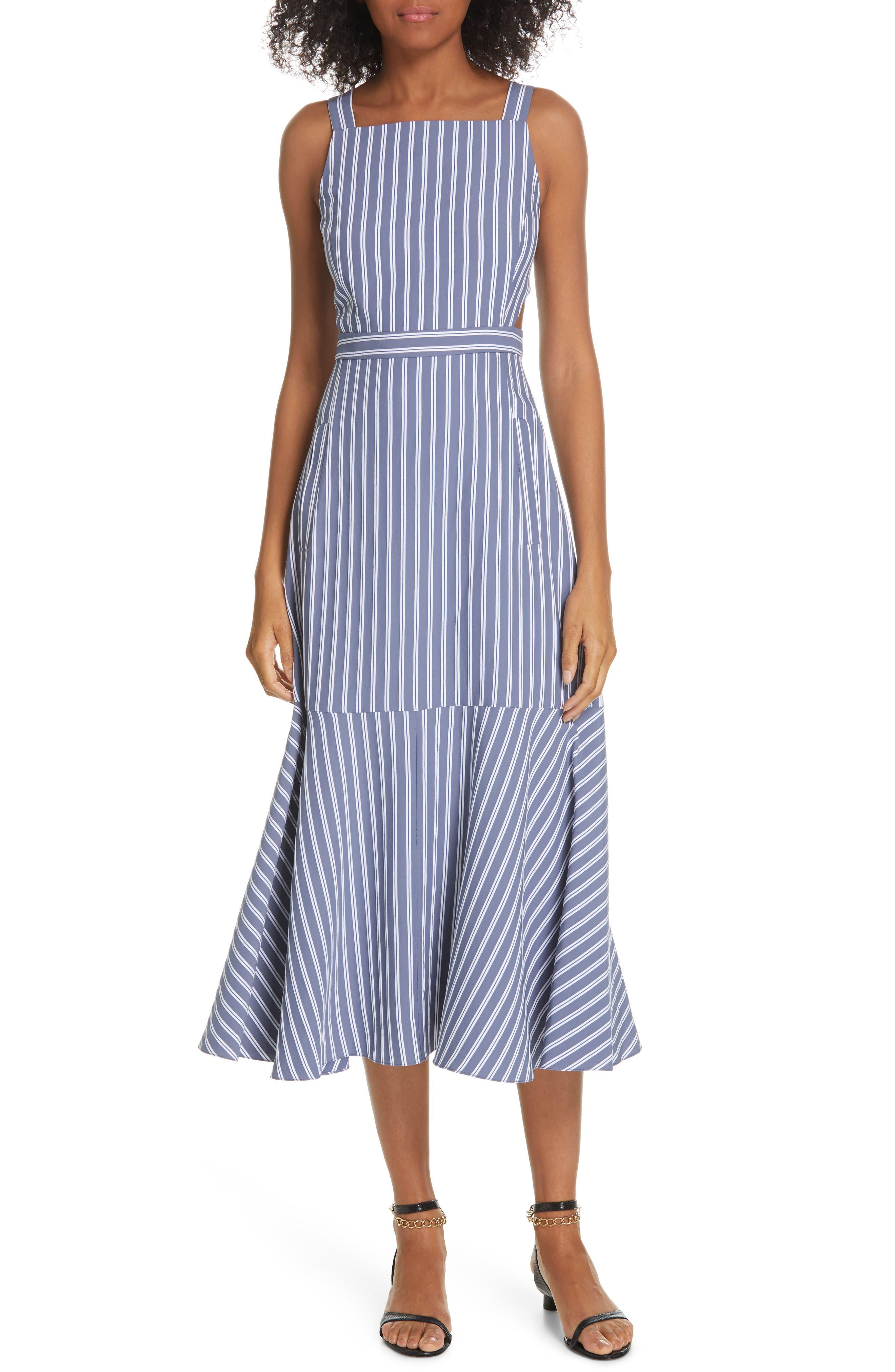 Tibi Stripe Twill Midi Dress, Blue