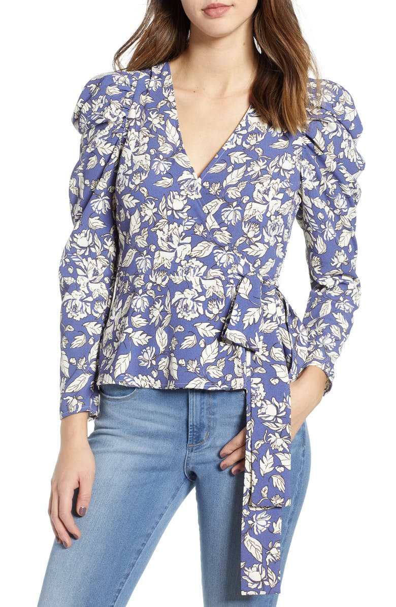 ASTR THE LABEL Puff Sleeve Floral Wrap Top, Main, color, 400