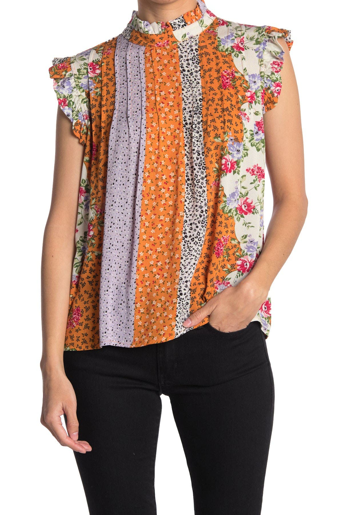 Image of Everleigh Print Mix Pleated Swing Tank