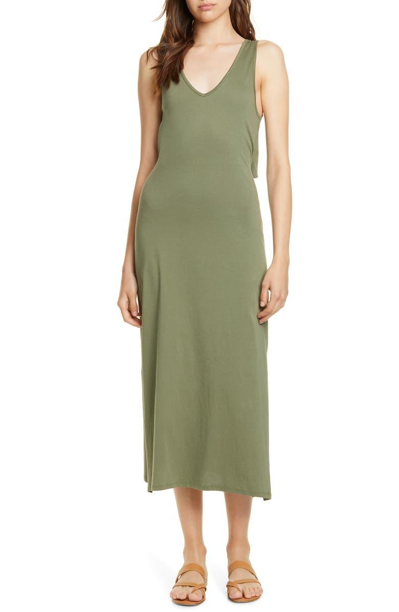 JOIE Conall Tie-Back Midi Dress, Main, color, CANOPY