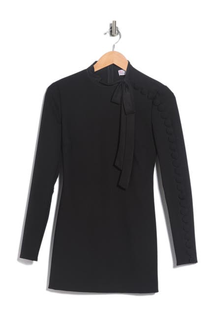 Image of RED Valentino Button Sleeve Tie Dress