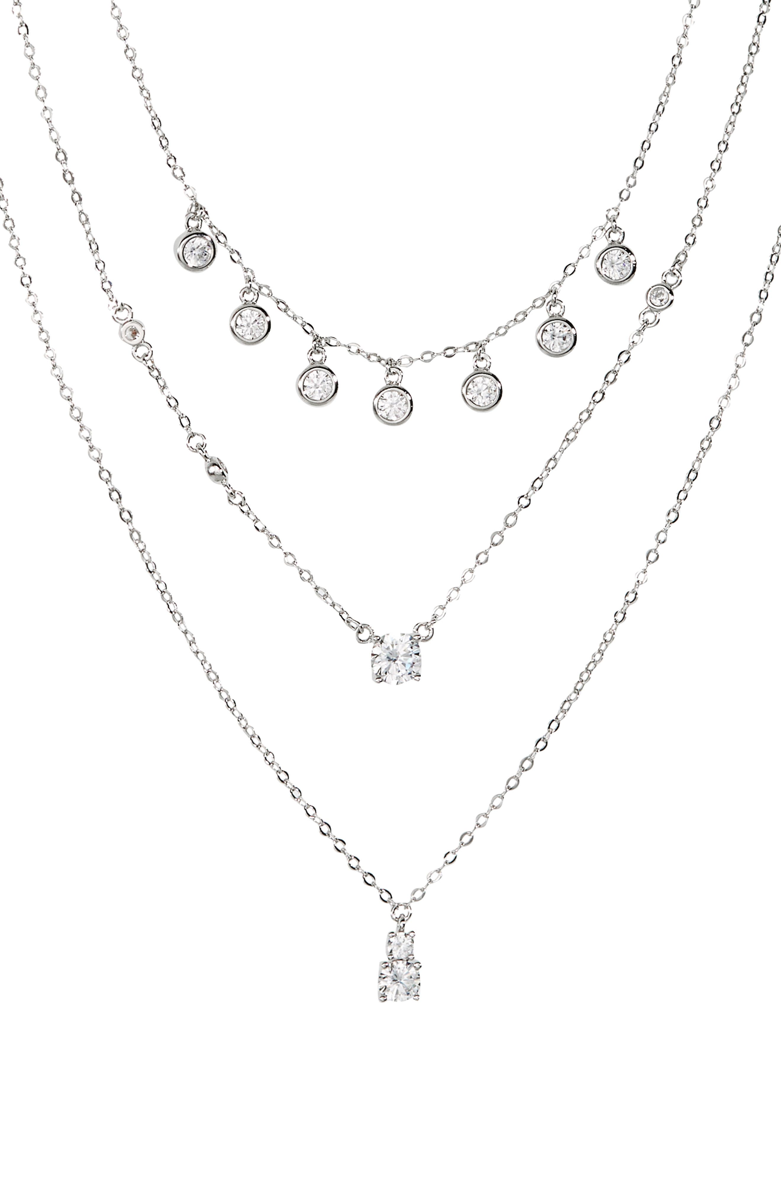 Fluttery crystal bezels add just the right amount of sparkle and shine to this delicate layered necklace. Style Name: Nordstrom Shaker Crystal Triple Strand Necklace. Style Number: 6016819. Available in stores.