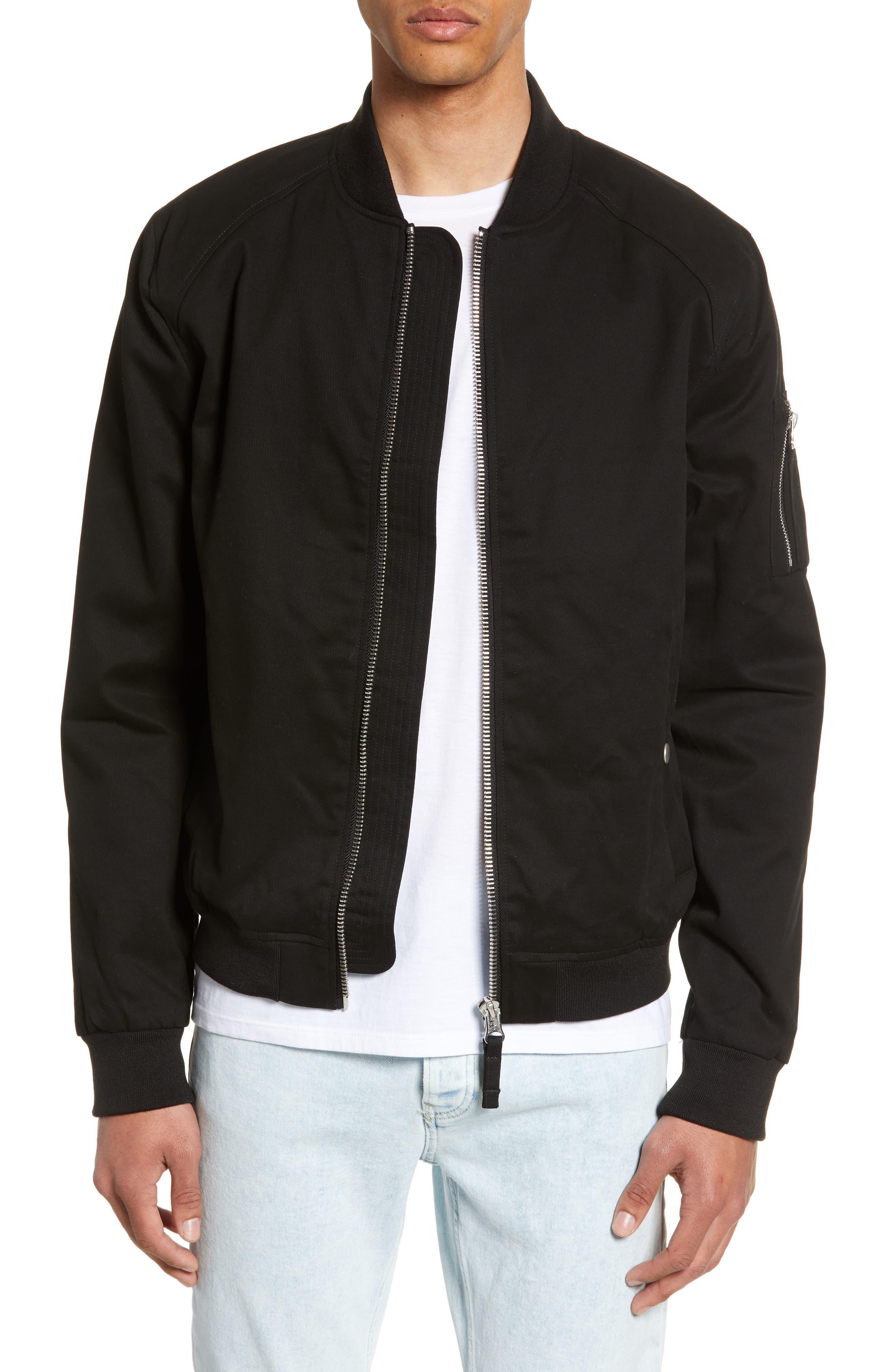Woven Bomber Jacket, Main, color, BLACK