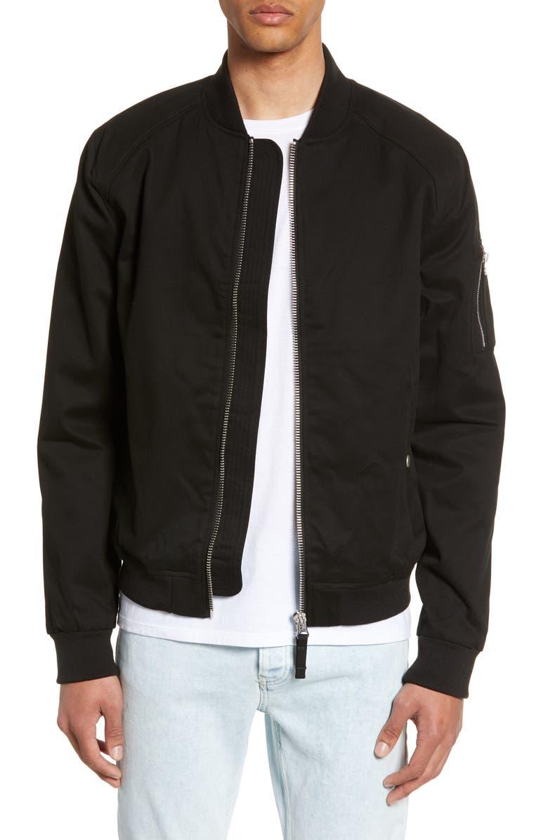 TOPMAN Woven Bomber Jacket, Main, color, BLACK