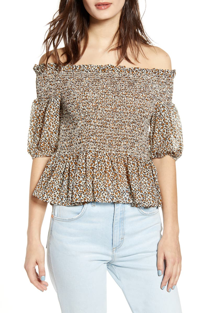 SOCIALITE Smocked Off the Shoulder Top, Main, color, CREAM RUST
