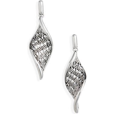 John Hardy Classic Chain Wave Silver Drop Earrings