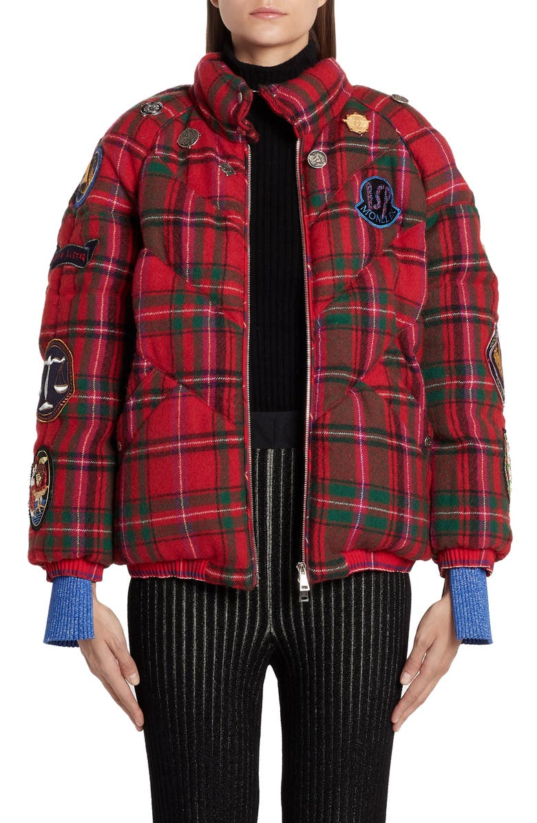 MONCLER GENIUS x 2 1952 Aven Patch Embellished Tartan Down Puffer Coat, Main, color, 611