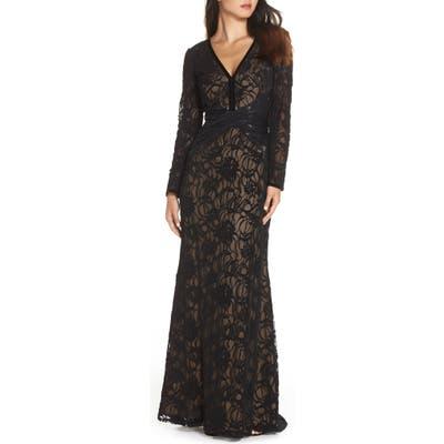 Tadashi Shoji Burnout Lace Gown, Black