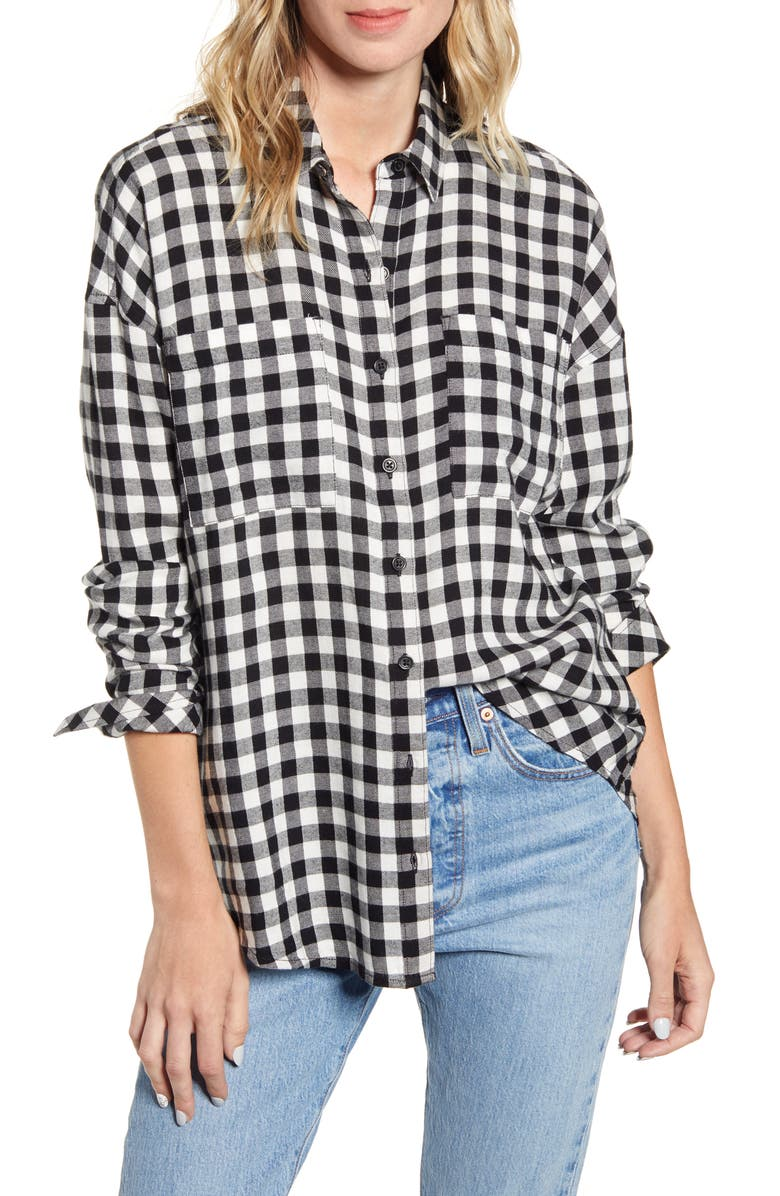 BP. Plaid Boyfriend Shirt, Main, color, BLACK LOREN CHECK
