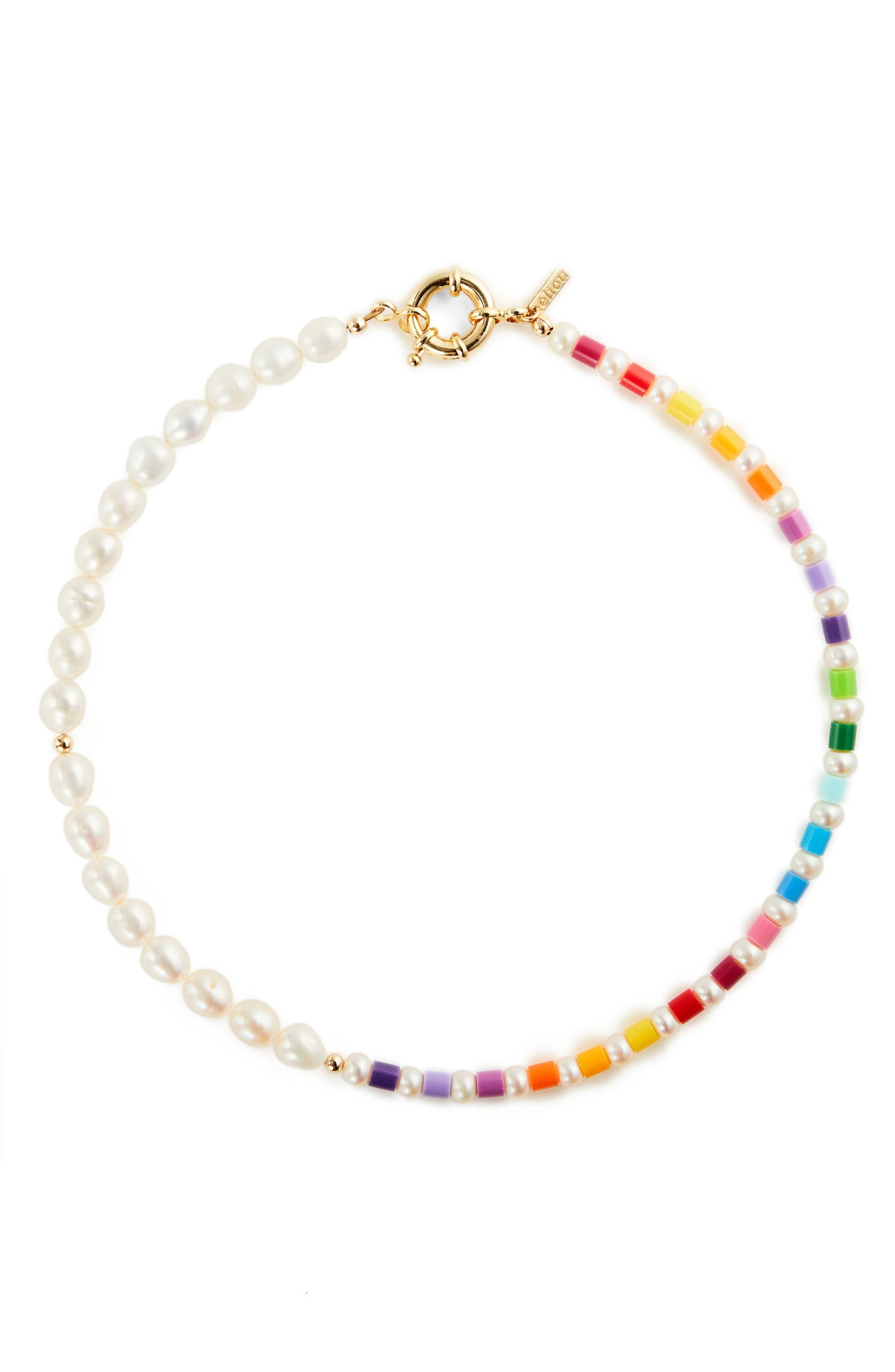 Women's Eliou Thasos Bead & Baroque Pearl Necklace