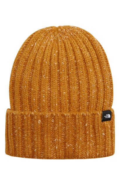 The North Face Marled Rib Logo Beanie In Citrine Yellow