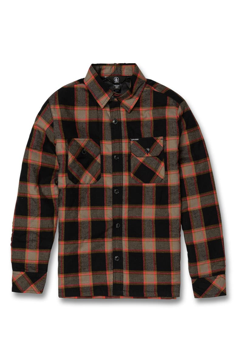 VOLCOM Belgrade Plaid Shirt Jacket, Main, color, BLACK