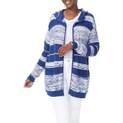 Nydj Hooded Stripe Cotton Cardigan, White