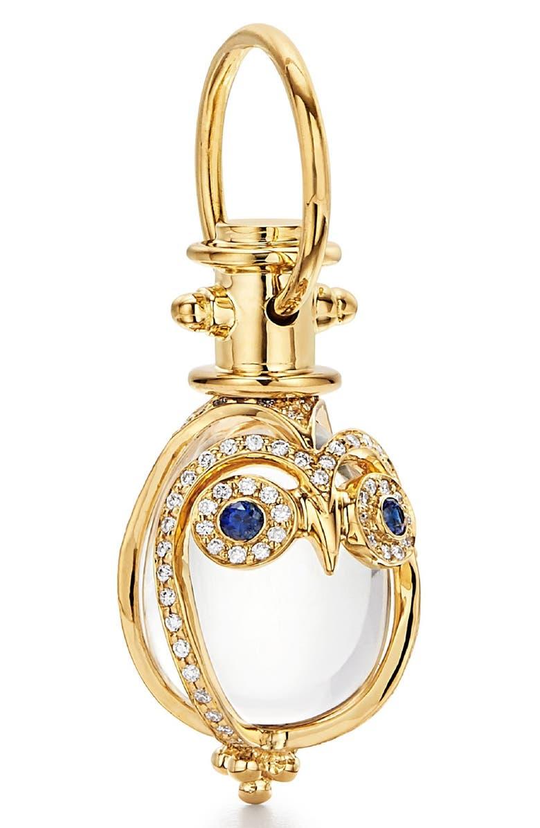TEMPLE ST. CLAIR Owl Diamond, Sapphire & Rock Crystal Amulet, Main, color, CRYSTAL/ SAPPHIRE/ DIAMOND