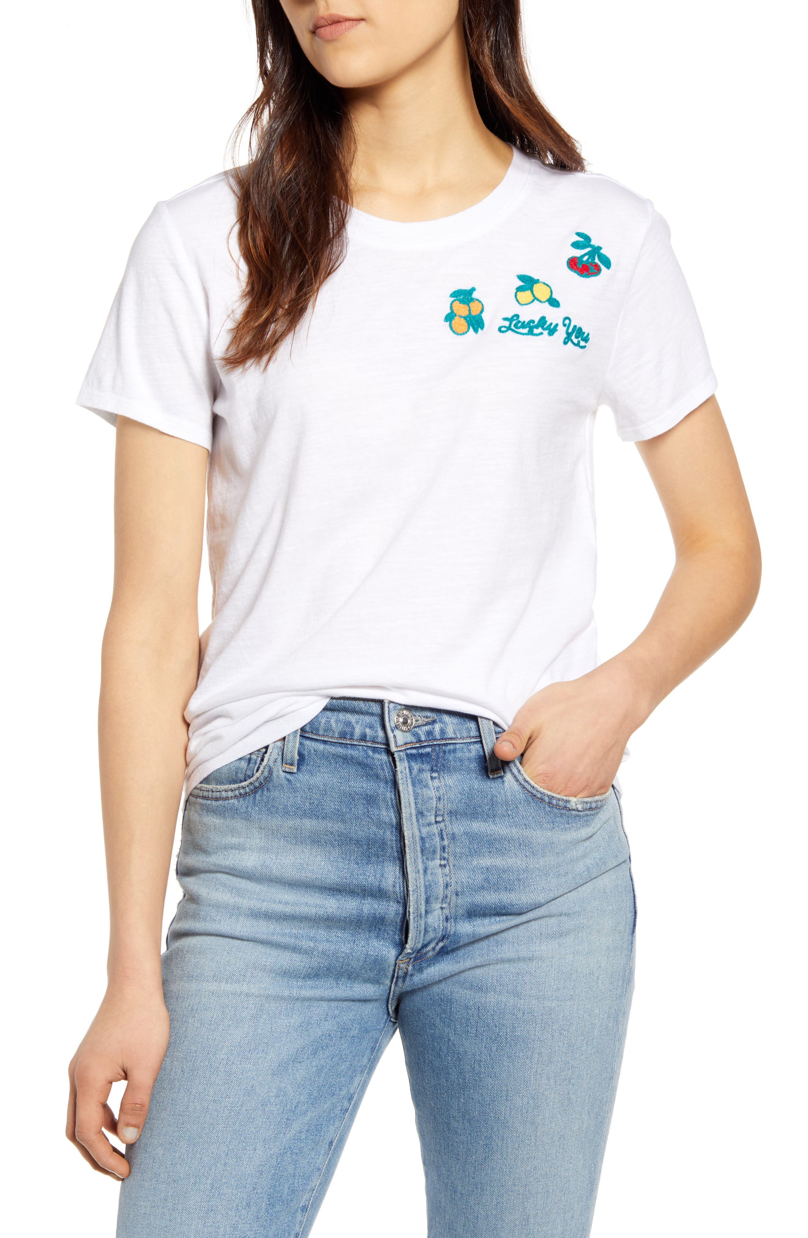 Image of Lucky Brand Embroidered Fruit T-Shirt