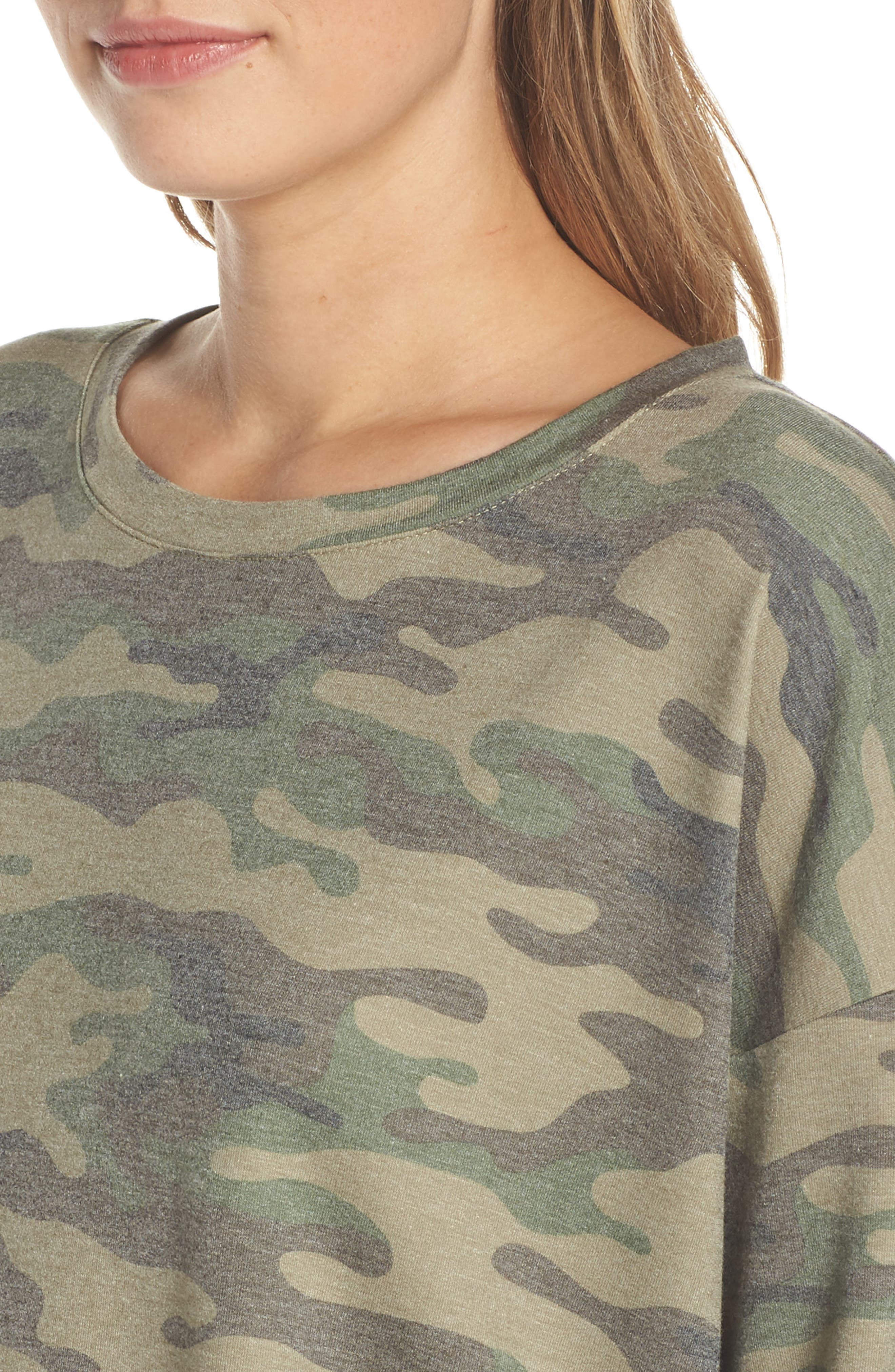 ,                             Camo Lounge Sweatshirt,                             Alternate thumbnail 4, color,                             OLIVE