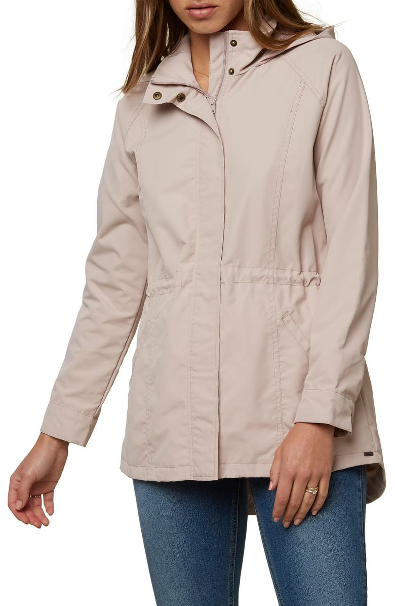 O'NEILL Gayle Waterproof Cinched Jacket, Main, color, SHADOW GRAY