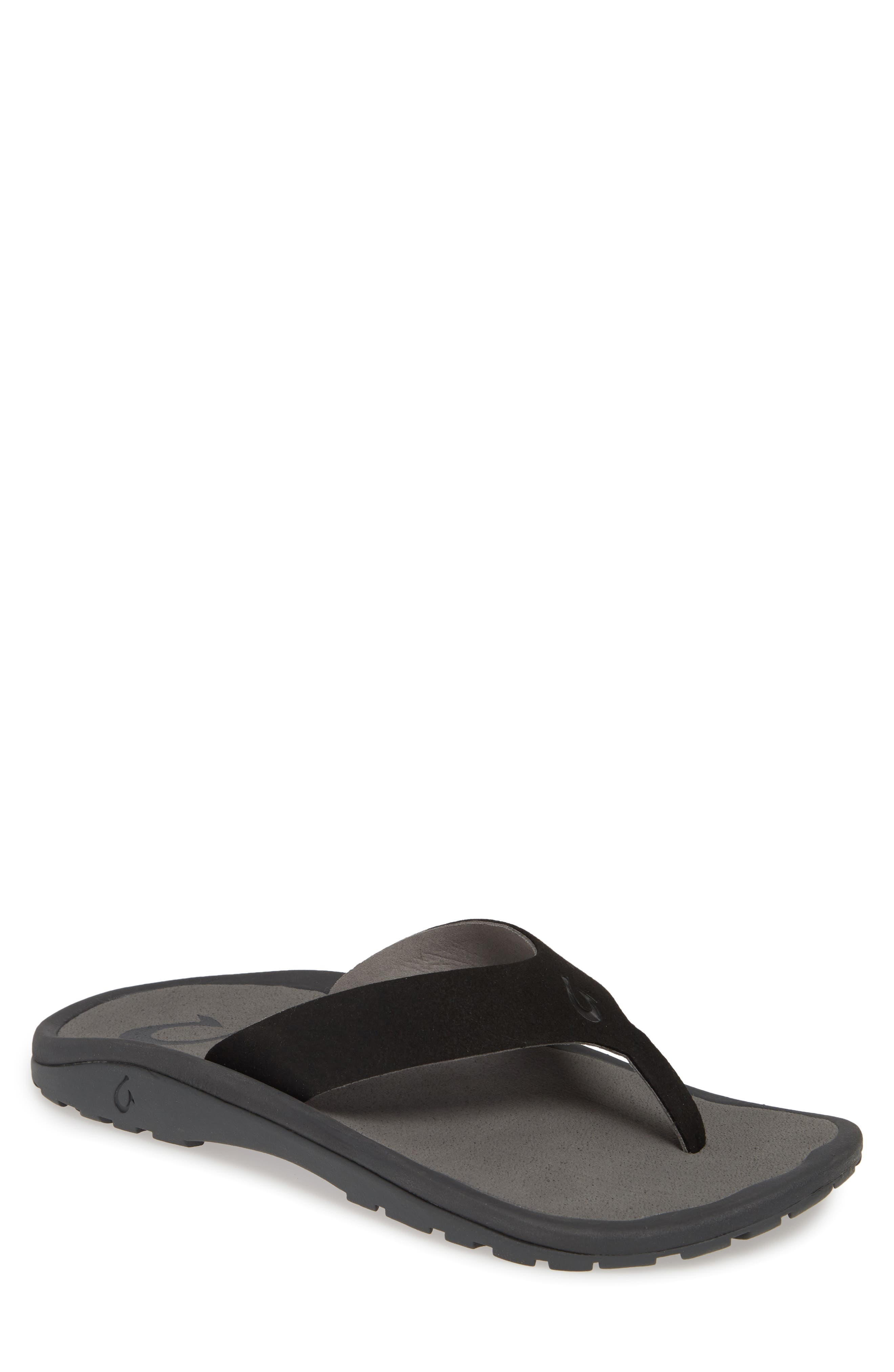 A seamless, one-piece upper enhances the all-day comfort of a beach-ready sandal fitted with a cushioned anatomical footbed and grippy textured sole. Style Name: Olukai Ohana Ho\\\'Okahi Flip Flop (Men). Style Number: 5474570. Available in stores.