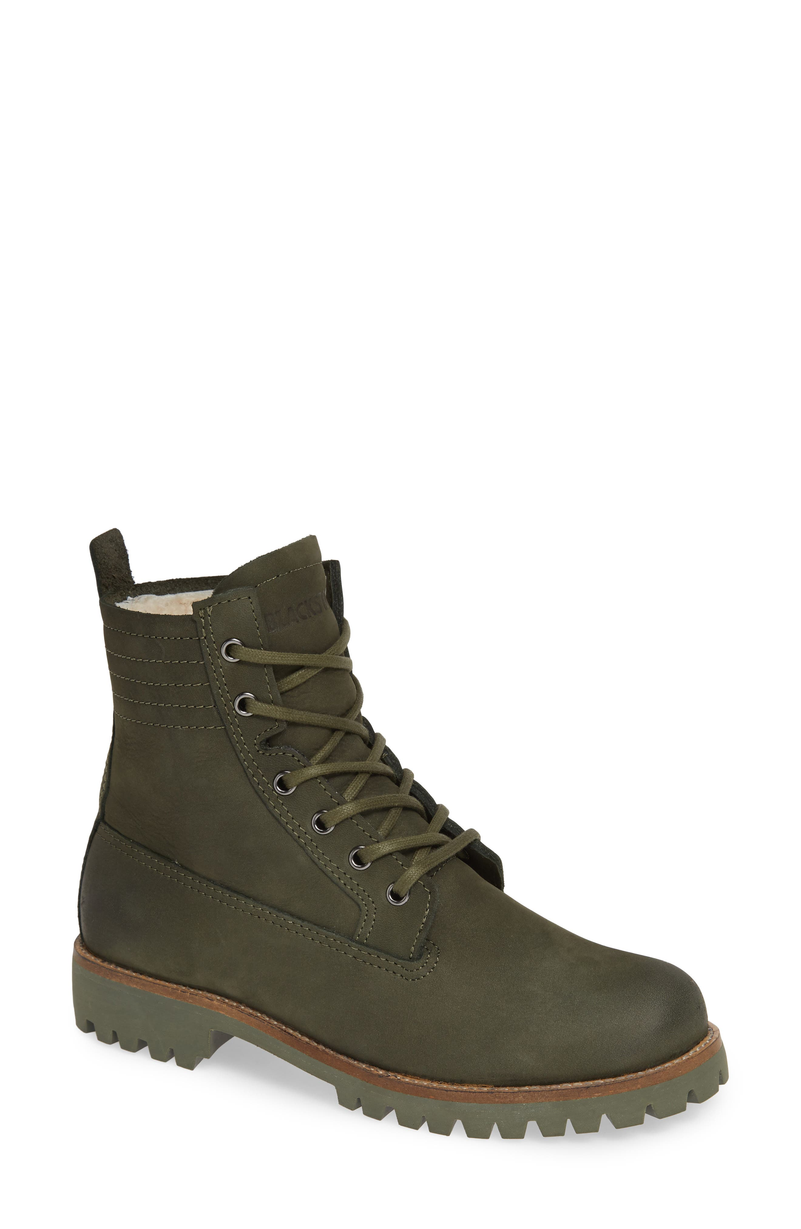 Blackstone Ol22 Lace-Up Boot With Genuine Shearling Lining, Green