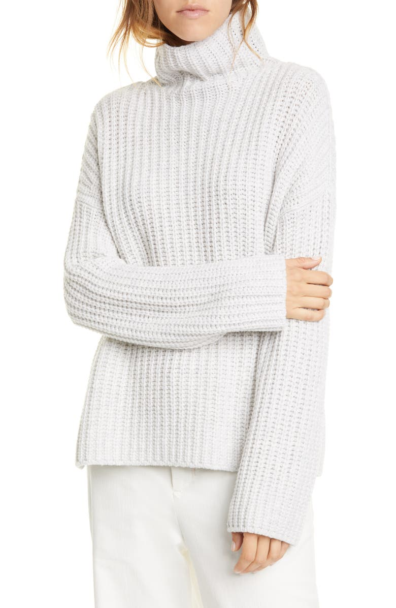 VINCE Lofty Wool Blend Funnel Neck Sweater, Main, color, LIGHT GREY