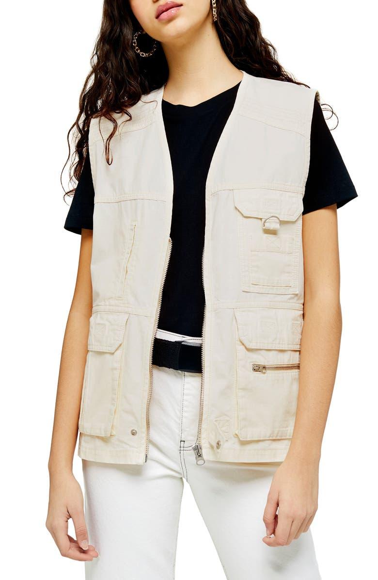TOPSHOP Fisherman Utility Vest, Main, color, WHITE