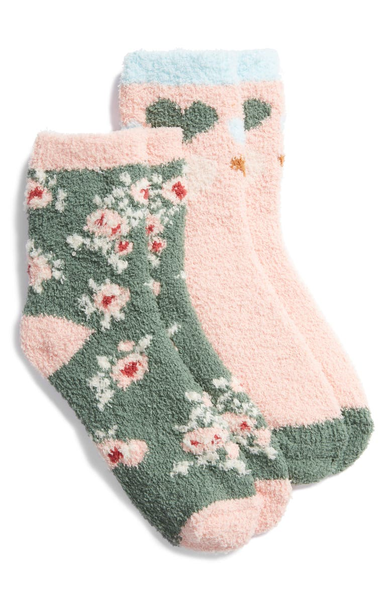 BP. 2-Pack Butter Crew Socks, Main, color, Green Duck Lizzie Floral