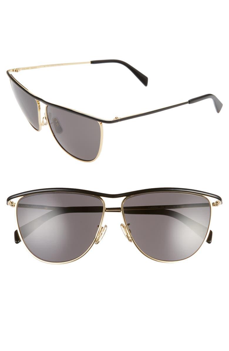 CELINE 60mm Aviator Sunglasses, Main, color, 001