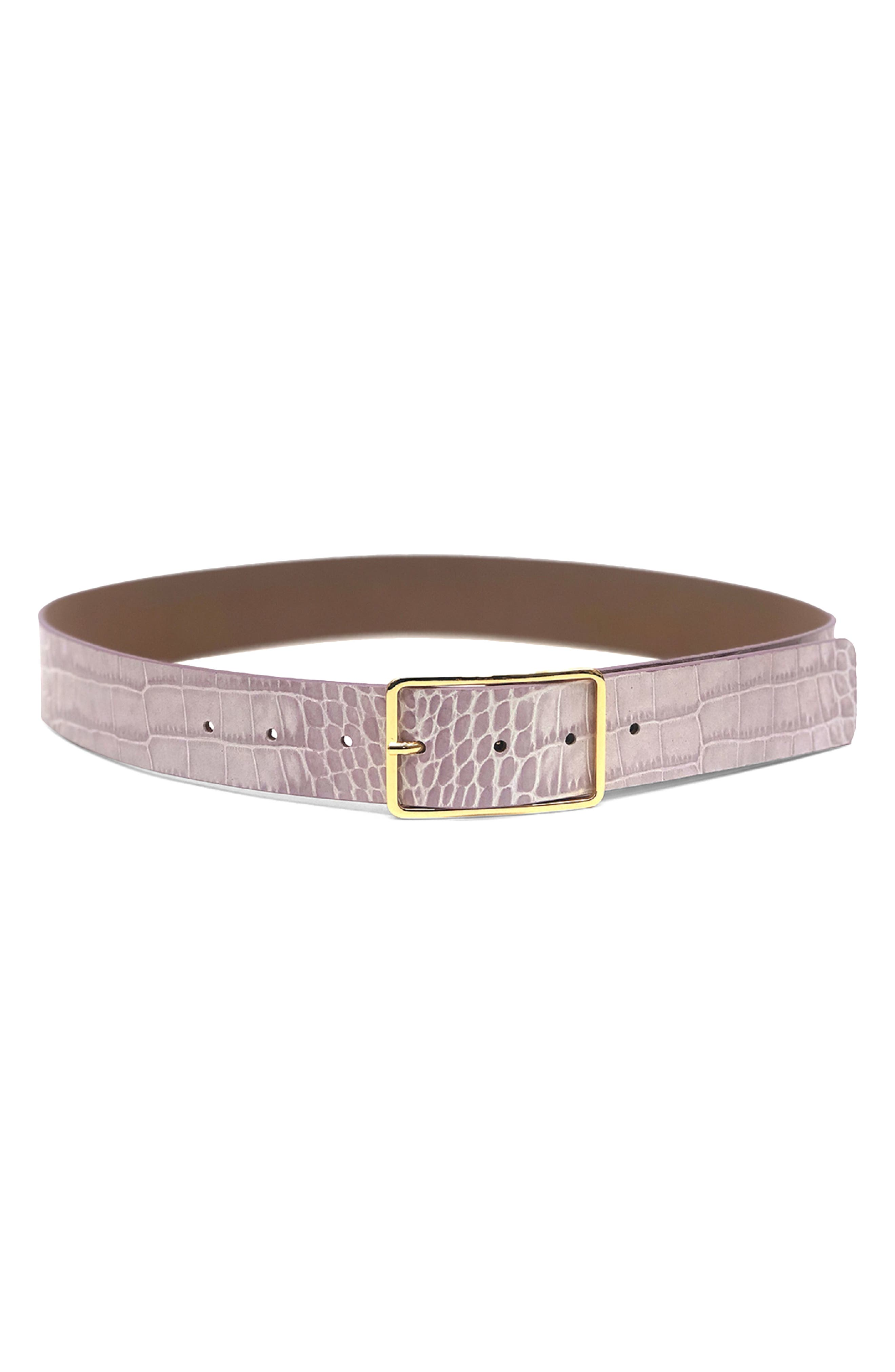 Milla Croc Embossed Leather Belt