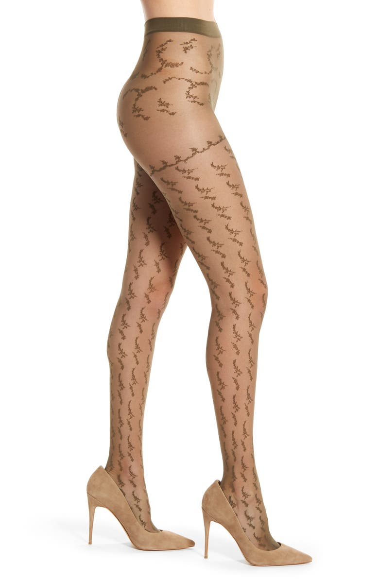 FALKE Floral Tights, Main, color, MILITARY