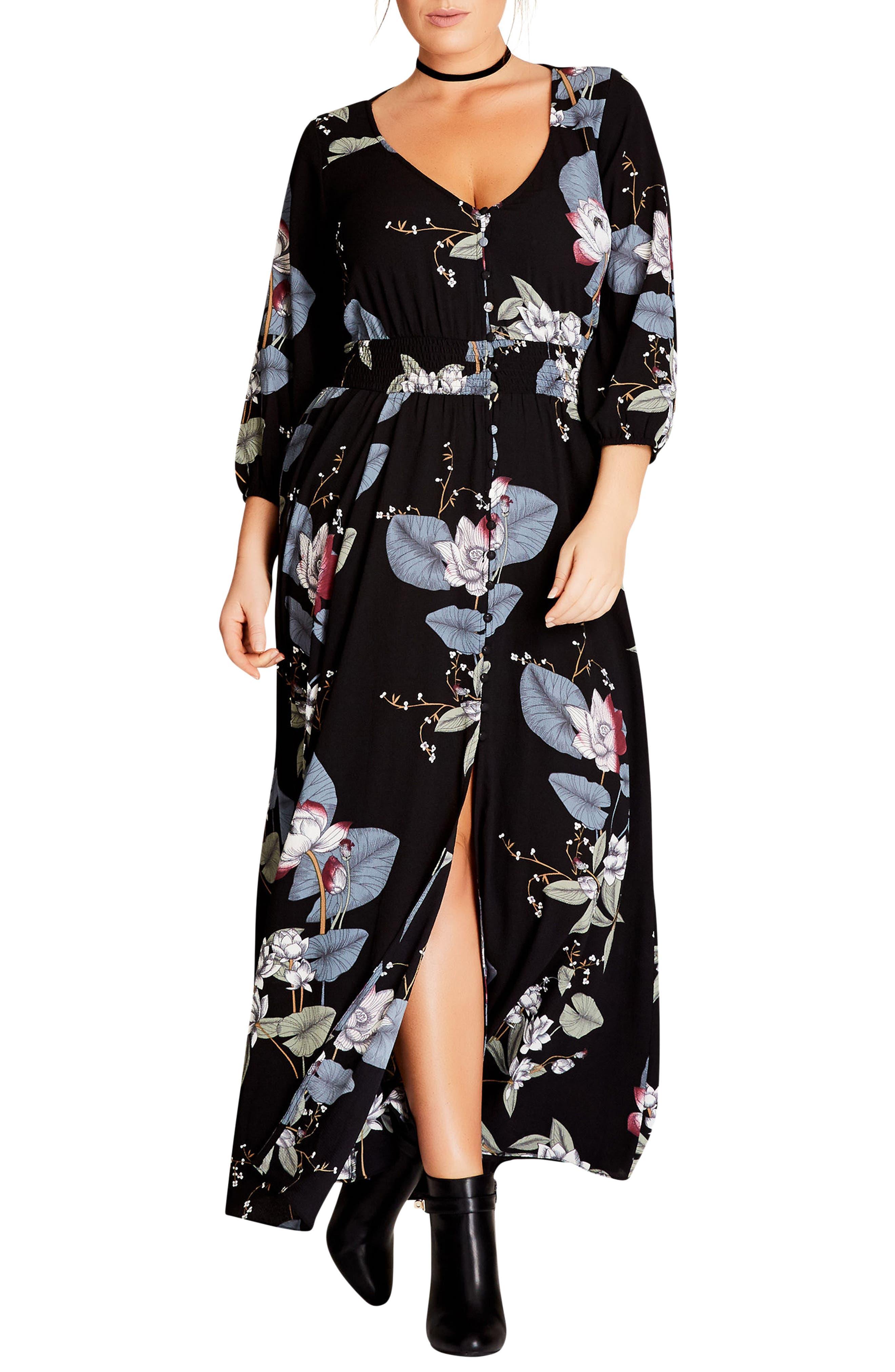 Plus Size City Chic Blossom Maxi Dress, Black