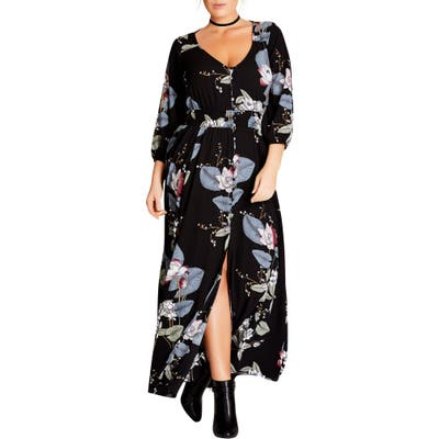 Plus Size City Chic Blossom Maxi Dress, Black
