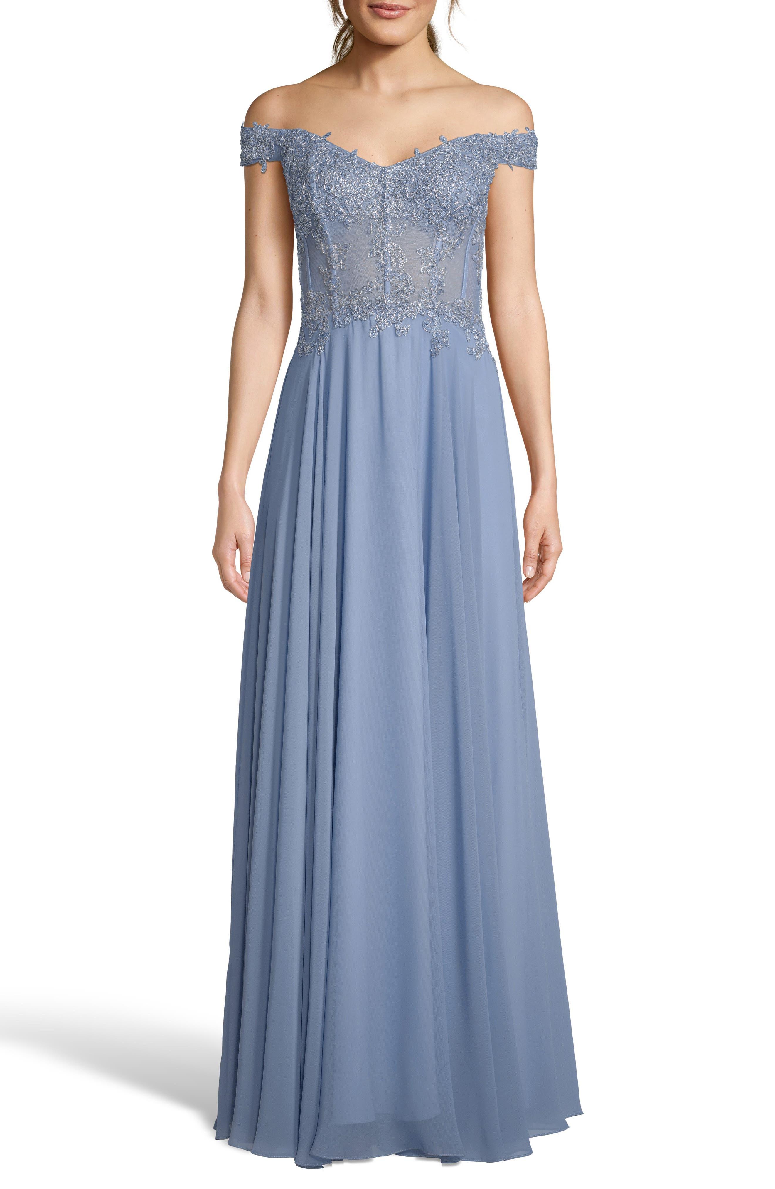 6d47d6a85362 Xscape Off-The-Shoulder Embellished Dress, Blue
