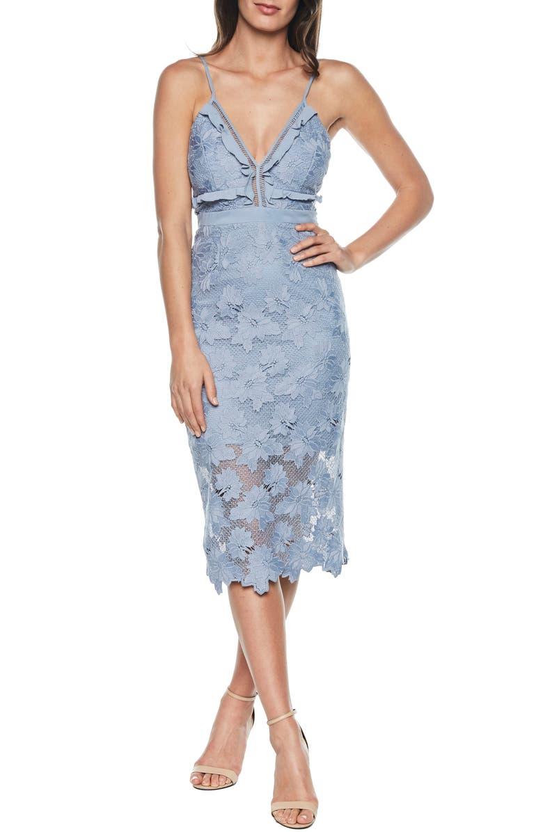 BARDOT Vienna Lace Overlay Dress, Main, color, 425