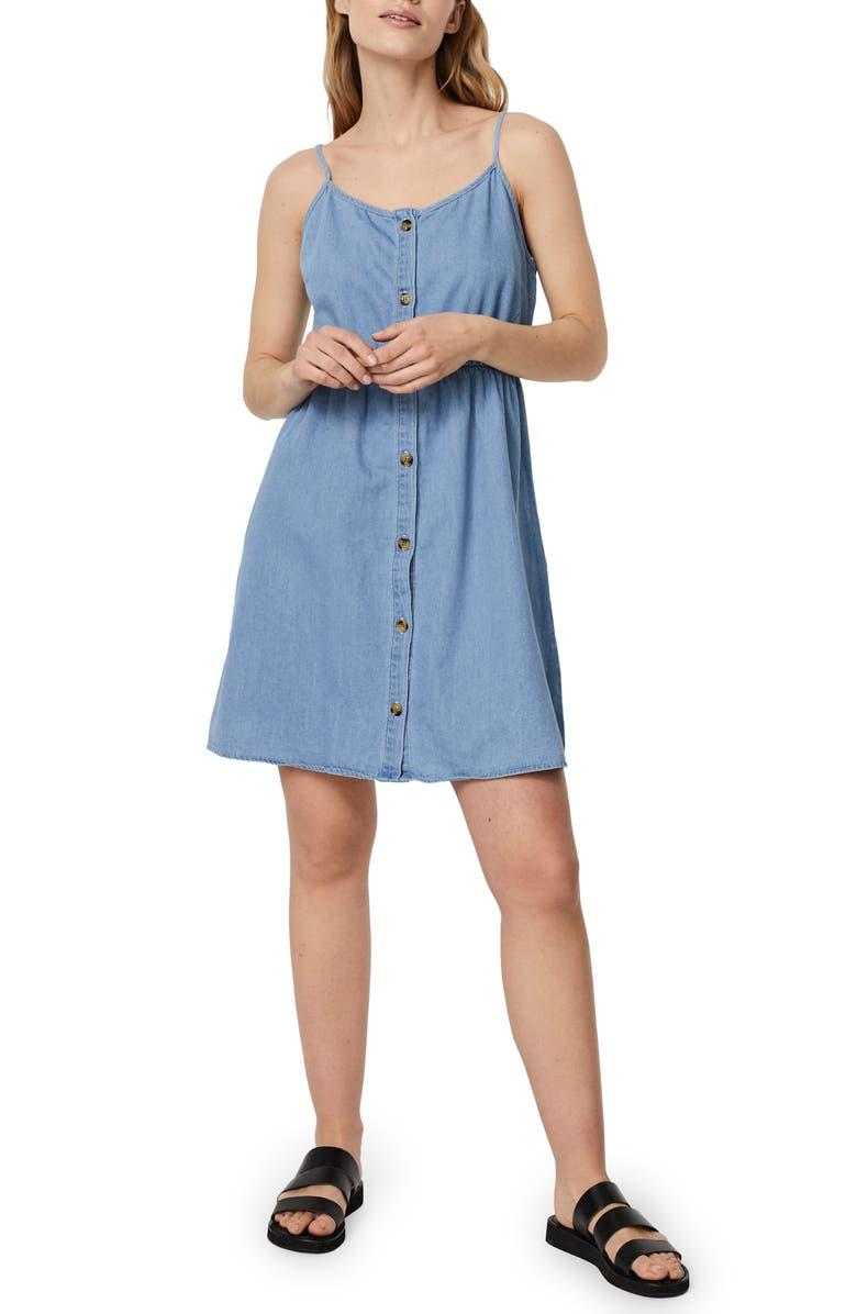 VERO MODA Flicka Denim Minidress, Main, color, LIGHT BLUE