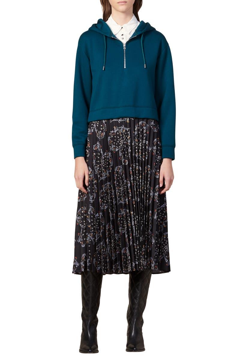 SANDRO Twins Mix Media Long Sleeve Dress, Main, color, GREEN