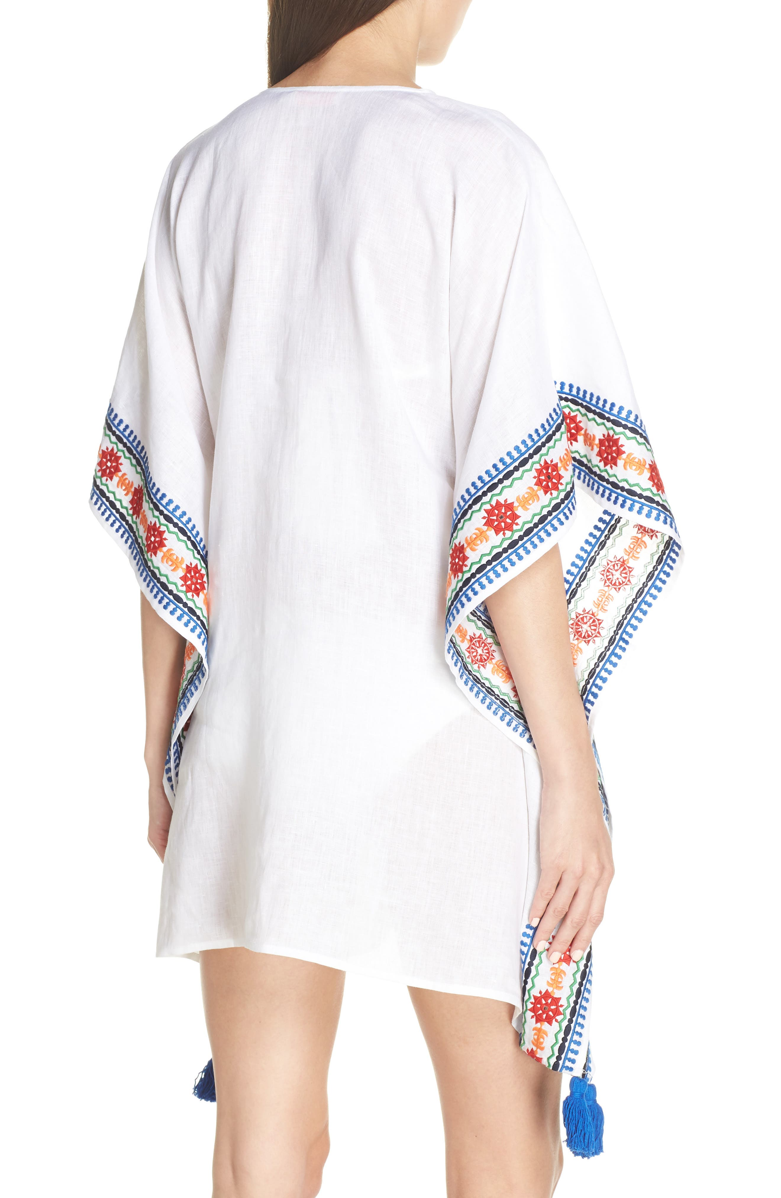 ,                             Embroidered Cover-Up Caftan,                             Alternate thumbnail 2, color,                             WHITE