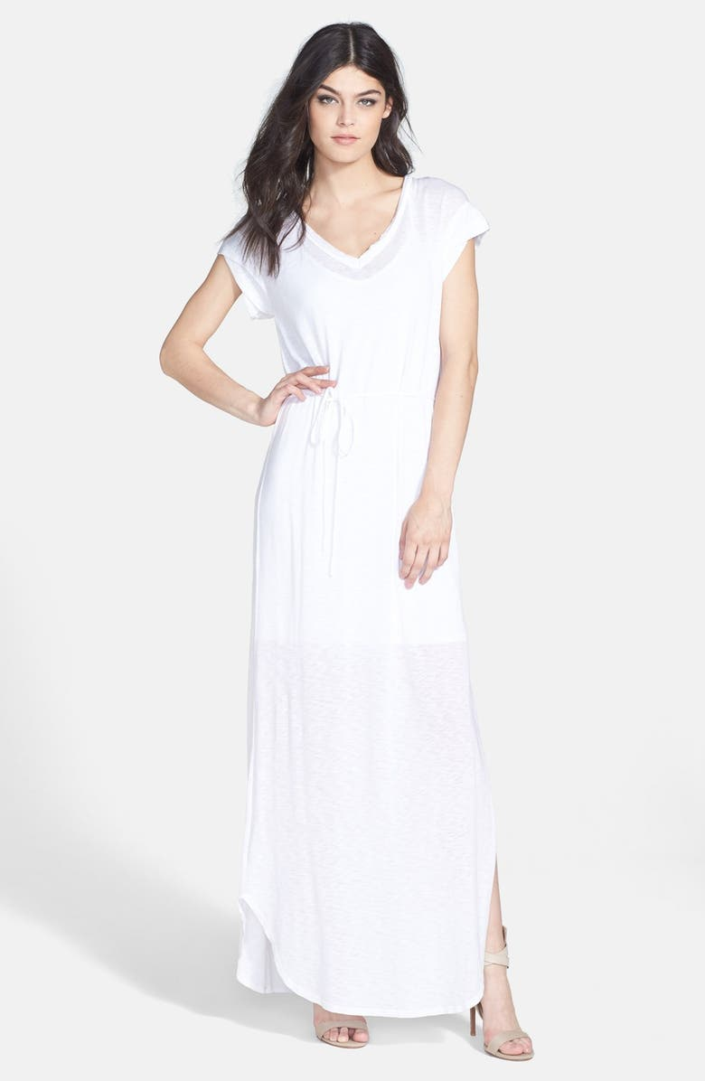 SPLENDID Slub Knit V-Neck Maxi Dress, Main, color, 100