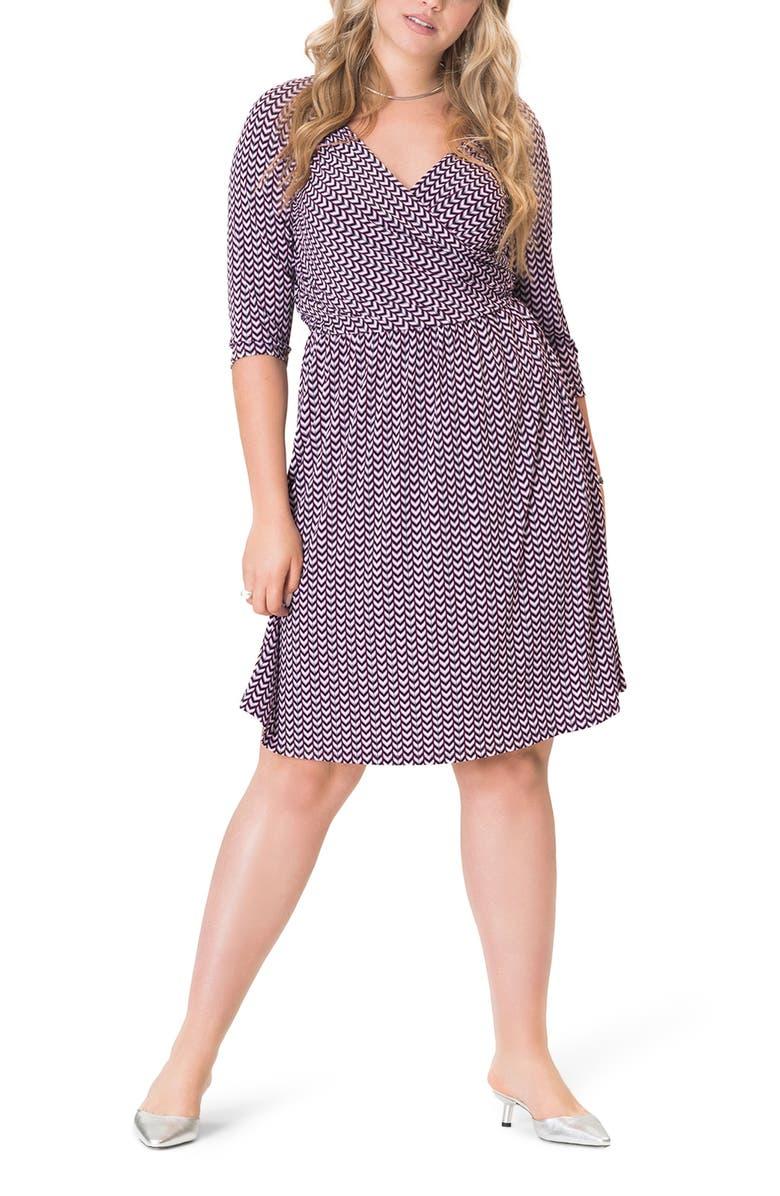 LEOTA Sweetheart Print Jersey Faux Wrap Dress, Main, color, STRIPED HERRINGBONE