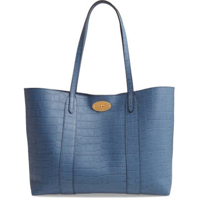 Mulberry Bayswater Matte Croc Embossed Leather Tote & Pouch - Blue