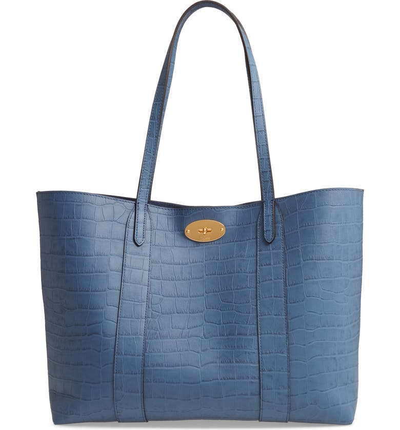 MULBERRY Bayswater Matte Croc Embossed Leather Tote & Pouch, Main, color, 400
