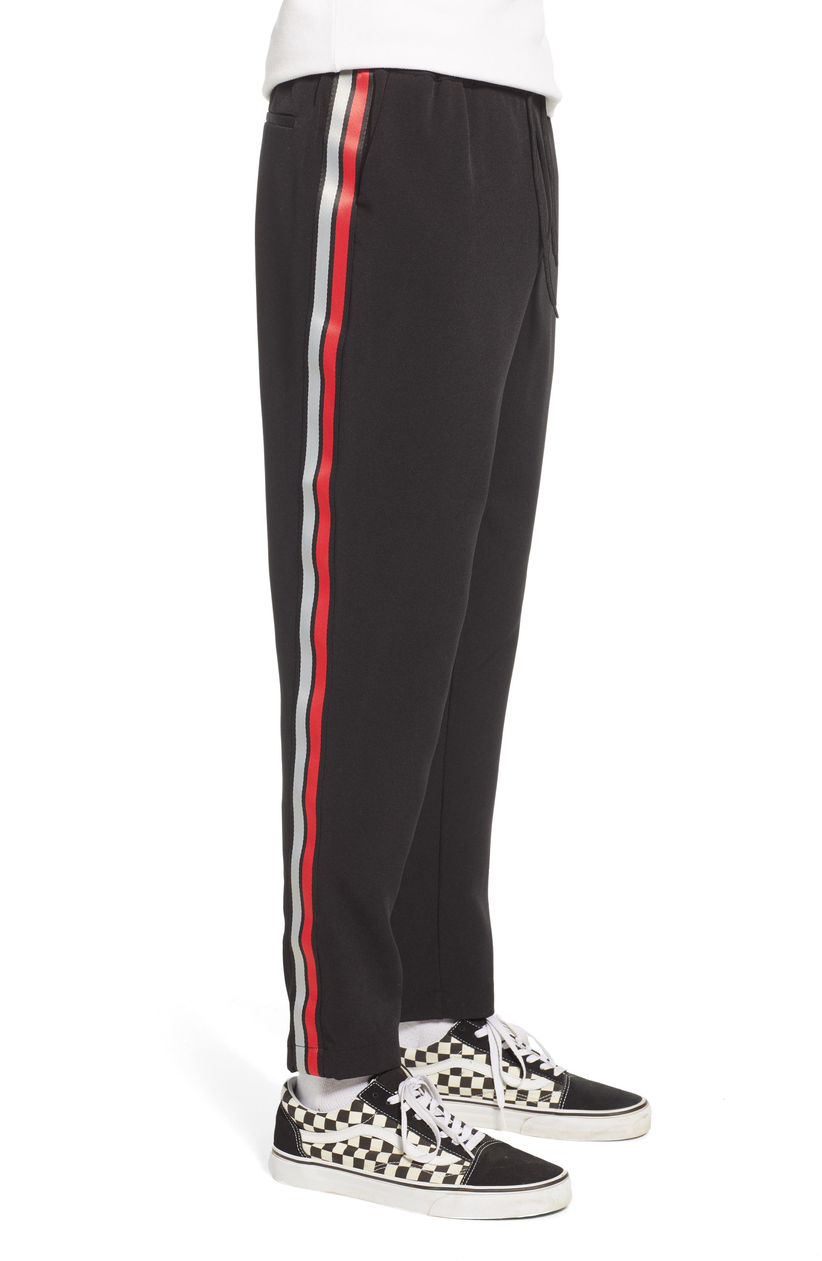 ,                             Classic Fit Side Stripe Cropped Jogger Pants,                             Alternate thumbnail 4, color,                             BLACK