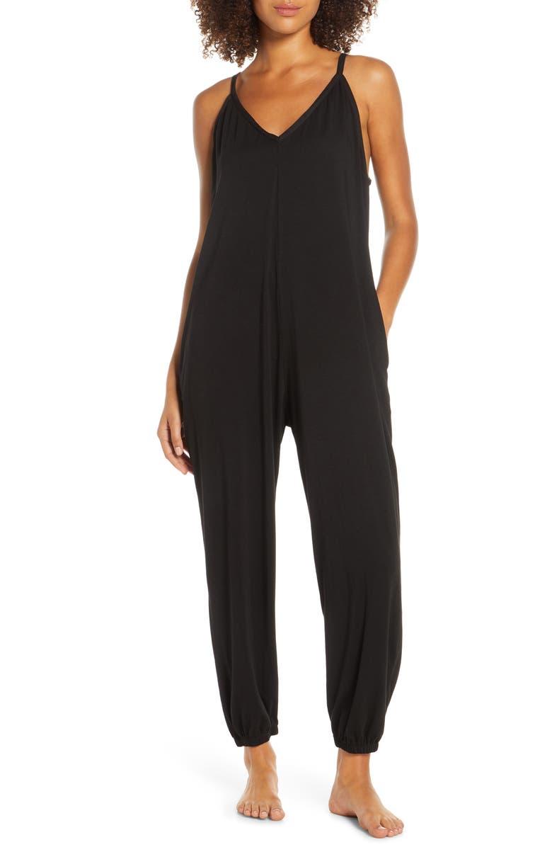 GROCERIES APPAREL Cecilia Lounge Jumpsuit, Main, color, BLACK