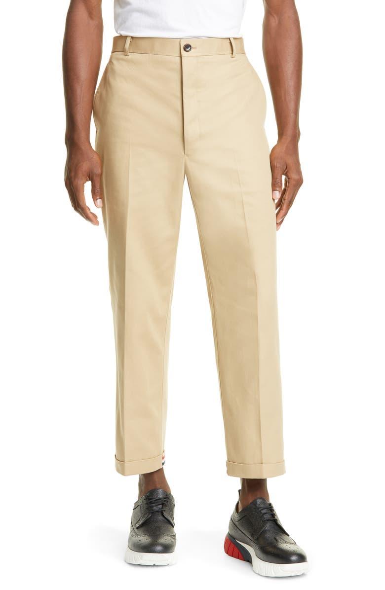 THOM BROWNE Crop Straight Leg Chino Pants, Main, color, KHAKI