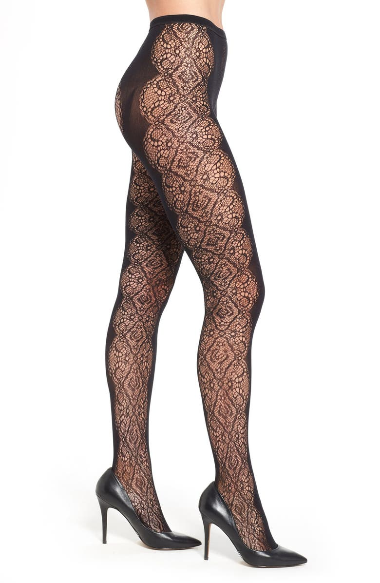 NORDSTROM Scallop Lace Tights, Main, color, 001