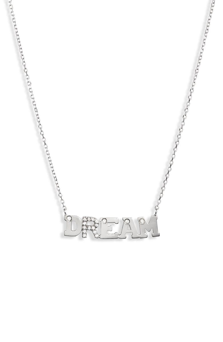 ANZIE Typewriter Dream Sapphire Pendant Necklace, Main, color, SILVER/ SAPPHIRE